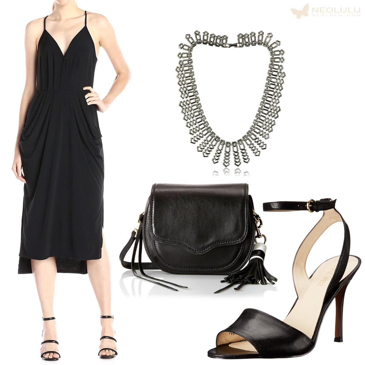 Black Trend: Wrap Dress & Fringed Cross Body Bag
