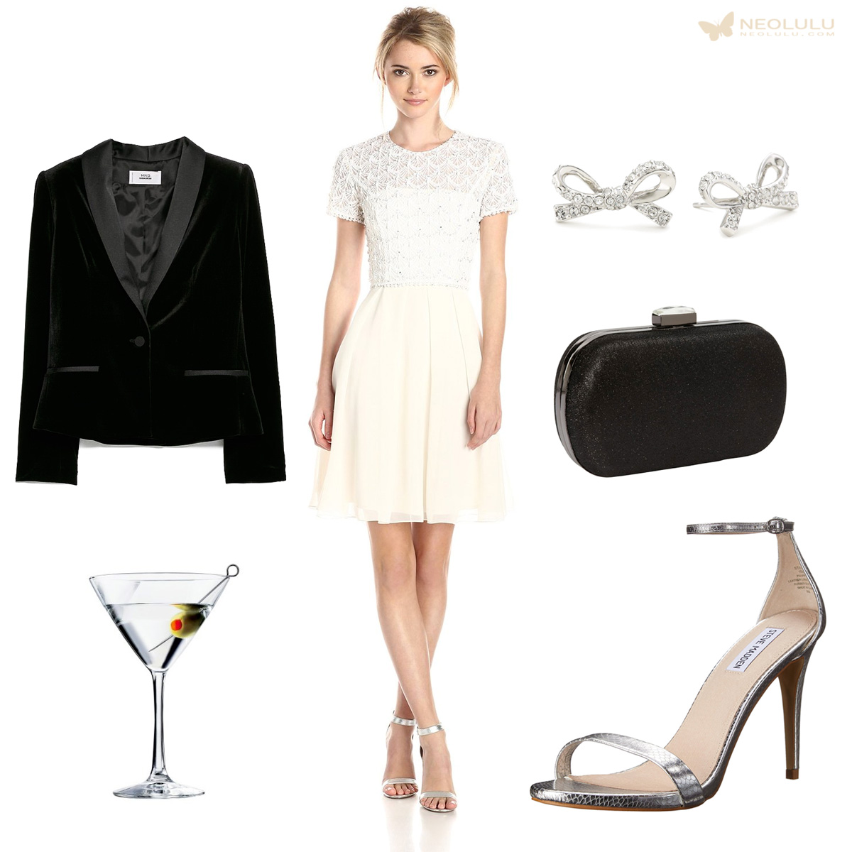 Lace & Sparkle: French Connection Dress, Velvet Blazer, Steve Madden Sandal, Clutch