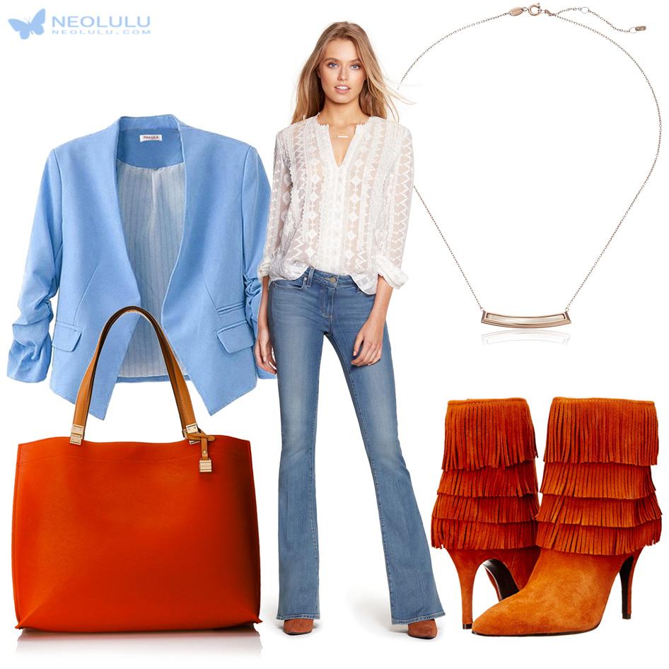 Maple Sky: Blue Blazer, Flare Jeans, Chiffon Silk Blouse, Tote & Boots