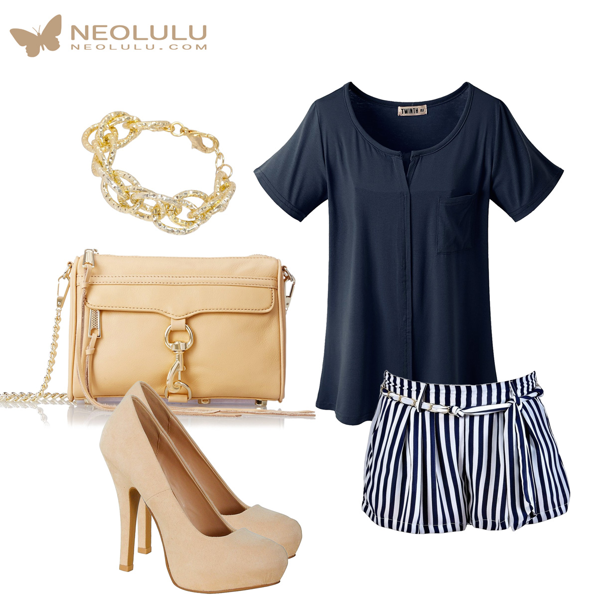 Sail Away: Navy Stripe Shorts & Top, Nude Pumps & Mini Mac Bag