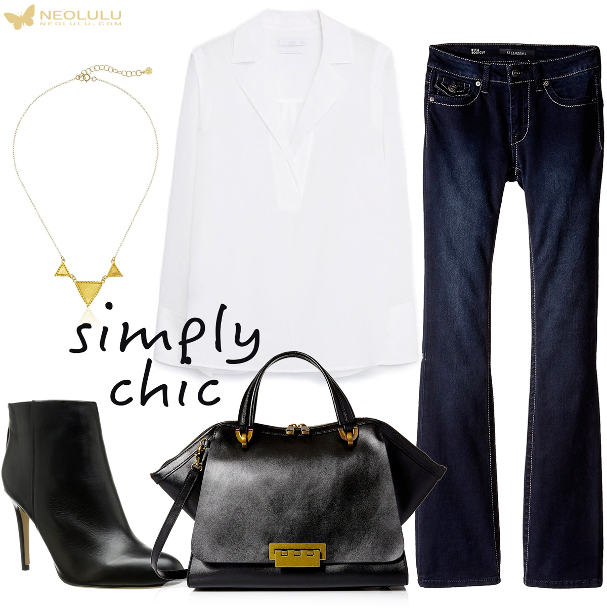 Simply Chic: White Silk Blouse, Jeans, Satchel & Boots