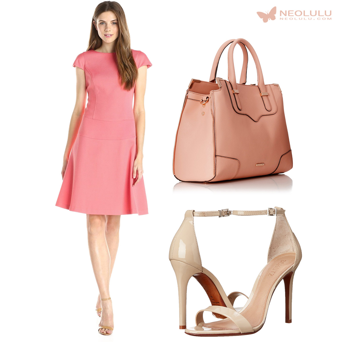 Summer Elegance: Fit-n-Flare Dress, Satchel and Sandals in Soft Neutrals