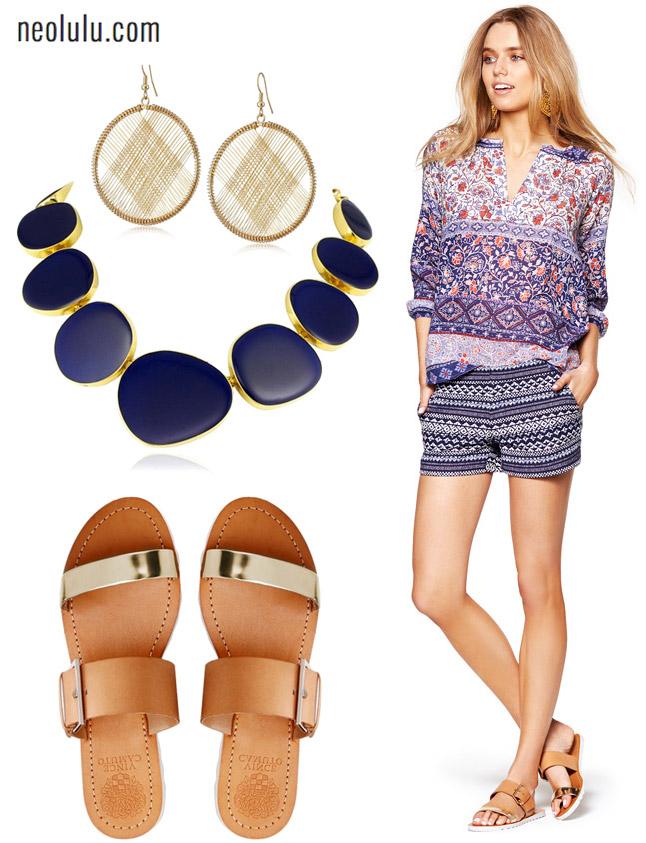 Bohemian Summer | Tweed Shorts and Boho Blouse Outfit
