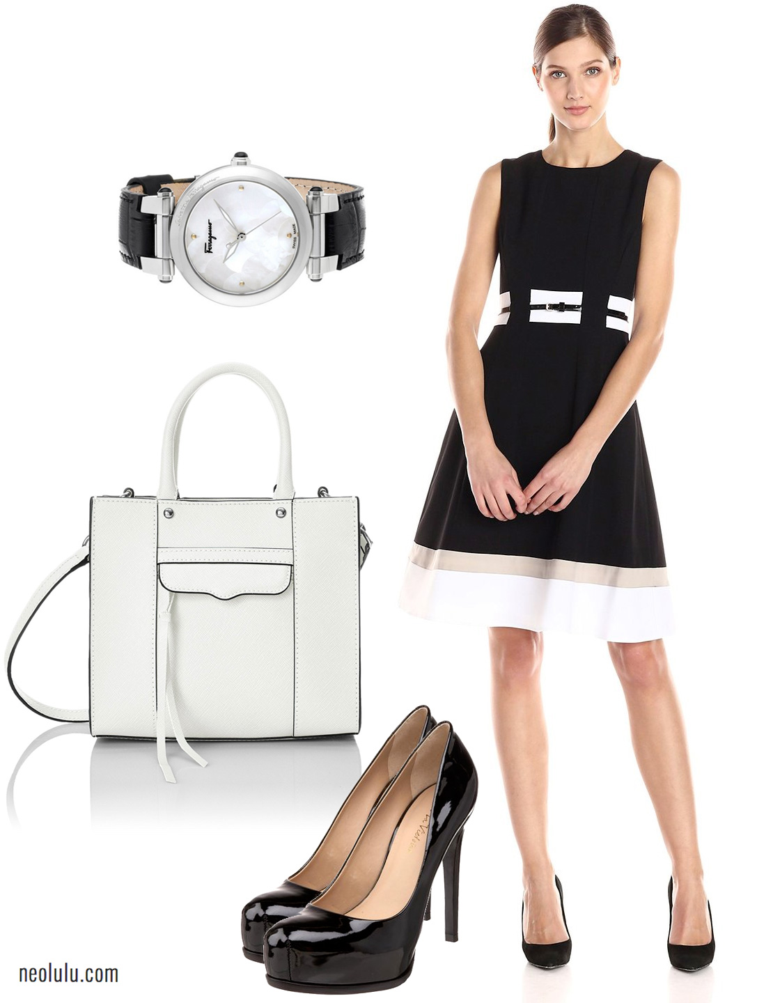 Classy in Black and White - Calvin Klein Dress and Rebecca Minkoff Tote