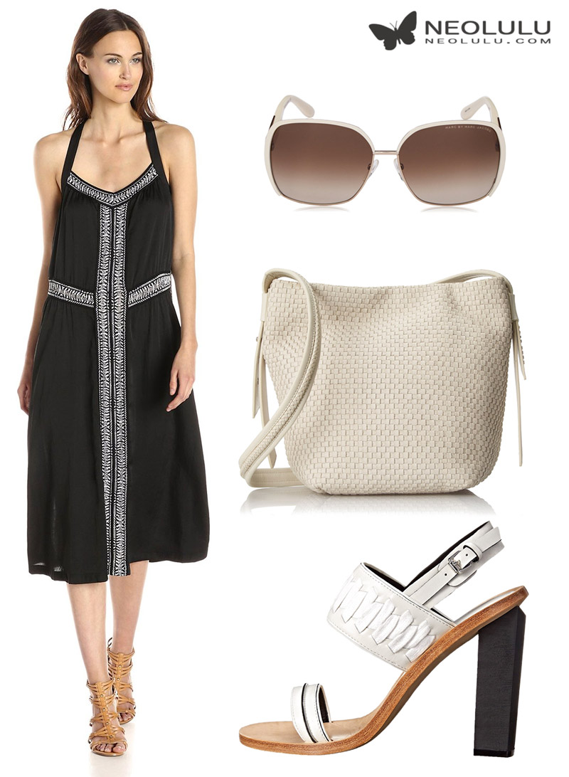 Woven Flow: sundress and cross body bag summer outfit in monochrome style