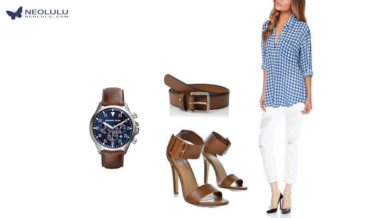 City Cafe: Checkered Shirt Distressed Boyfriend Jean Brown Leather Outfit Idea