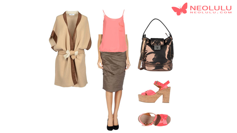 Coral Coziness: Cardigan and Skirt Outfit Idea