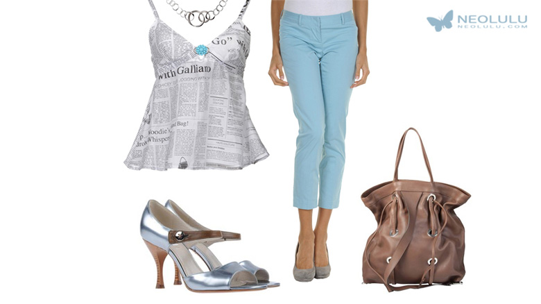 Sky Blue: Cropped Pants & Newspaper Print Top Trendy Outfit Idea