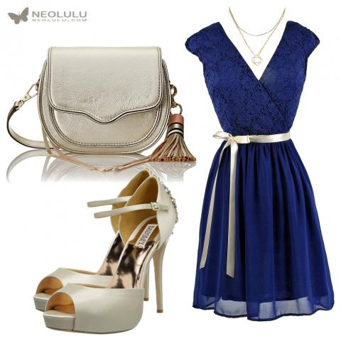 Adorable: Ribbon Dress in Lace & Chiffon, Cross Body Bag and Pumps in Ivory