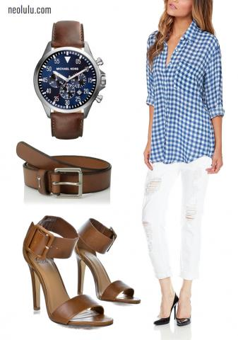 City Cafe I Checked Shirt Distressed Boyfriend Jean Brown Leather Outfit Idea