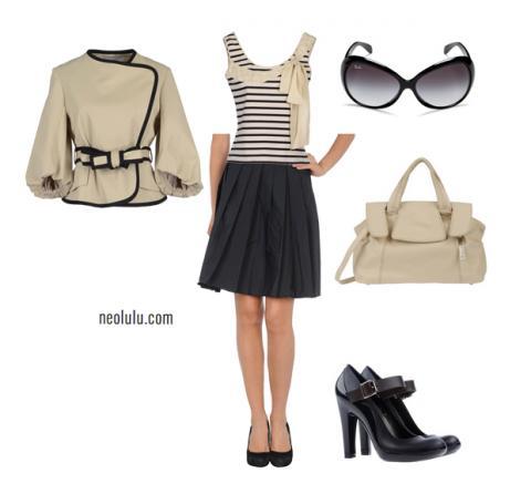 Femme Retro   Summer Navy Stripes Skirt Outfit Idea