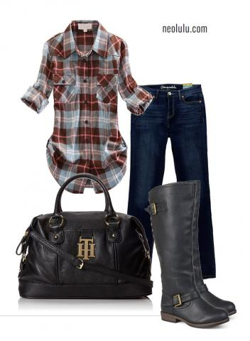 Weekend Ride: Comfy Plaid Shirt, Jeans and Riding Boots