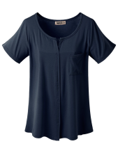 Doublju Womens Round Slit Detailed Short Sleeve Rayon Pocket T-shirt