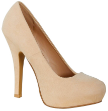 LILY BOUTIQUE Nicole Suede Hidden Platform Pump in Nude