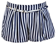 LILY BOUTIQUE Sail Away With Me Chain Belt Stripe Shorts in Navy/Ivory