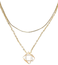 Lily Boutique Multifaceted Open Gold Dual Strand Necklace