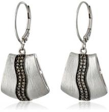 Sterling Silver Brown Diamond Brushed Earrings