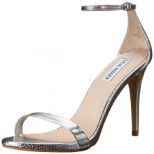 Steve Madden Womens Stecy Dress Sandal in Silver Snake