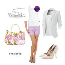 Lilac Shorts White Boyfriend Blazer Outfit Idea