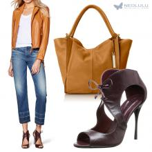 Fall Honey & Red Wine: Leather Jacket, Boyfriend Jeans, Sandals & Tote