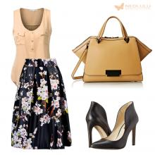 Floral Contrast: Skater Skirt with Floral Print, Zac Bag and BCBGeneration Pump