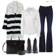 Polished For Work: Striped Cardigan, White Shirt & Jeans Outfit