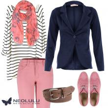 Preppy Meet Nautical: Loose Striped Top, Salmon Skinny Pants and Navy Blazer