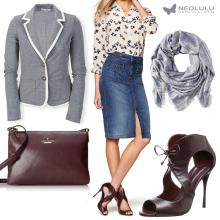 Wine Red & Soft Grey: Cropped Blazer, Denim Skirt, Burgundy Sandals & Cross Body Bag
