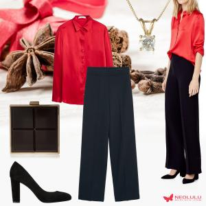 Holiday Party Classic: Red Satin Blouse & Black High Waist Trousers
