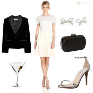 Lace & Sparkle: French Connection Dress, Velvet Blazer, Steve Madden Sandal, Clutch