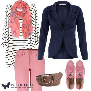 Preppy Meet Nautical: Loose Striped Top, Salmon Skinny Pants and Navy Blazer
