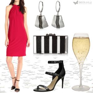 Red & Black: Sleeveless Dress Party Outfit