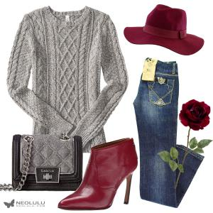 Sweater Weather: Cable Sweater with Burgundy Boots
