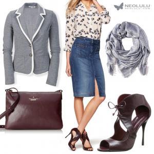 Wine Red & Soft Grey: Cropped Blazer, Denim Skirt, Burgundy Sandals & Cross Body Bag