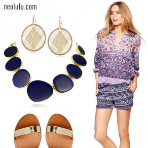 Bohemian Summer   Tweed Shorts and Boho Blouse Outfit