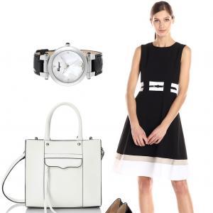 Classy in Black and White - Calvin Klein Dress and Rebecca Minkoff Tote